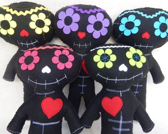 Day Of The Dead Sugar Skull Plush Doll