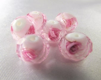6 Bright Pink and Pale Pink on White Core Faceted Rose Lampwork Glass 12x8mm Rondelle Spacer Beads