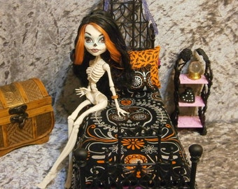 Day of the dead blanket and pillow set for 10 to 12 inch dolls