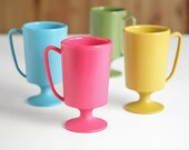Vintage Action-Lobeco Made in Japan Plastic Mugs in Fun Retro Colors, Set of Four