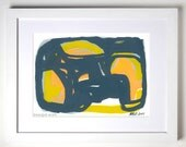 Original abstract painting, yellow and gray painting, acrylic painting, Lights and shadows