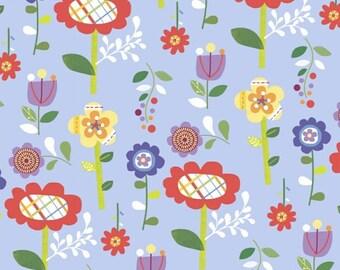 Flower Fabric, Mother Goose Tales, Funky Flowers in Blue, Jill McDonald, Windham Fabrics, 39953-2, One Yard