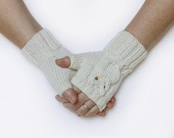 White Wool Fingerless Owl Mittens Gloves
