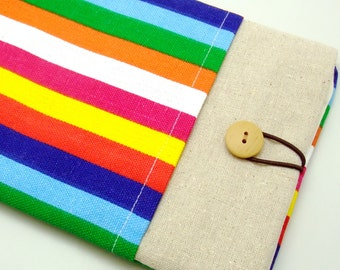 SALE - iPad mini retina sleeve, kindle, with a front pocket, padded- Colourful strips (a) (K187)