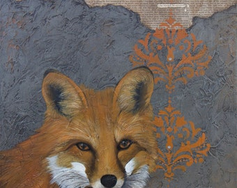Fox Art, title A Fox Watched the Cottontail – MOUNTED to wood panel, Archival Paper Reproduction