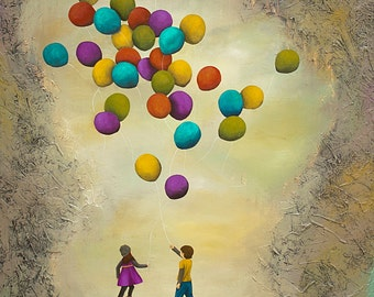 Balloon Art, Nursery Art, title Letting Go Together – MOUNTED to wood panel