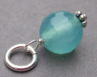 Aqua Blue Chalcedony Gemstone Disco Ball Sterling Silver Wire Wrapped  Pendant Dangle Charm with Sterling Silver Jump Ring