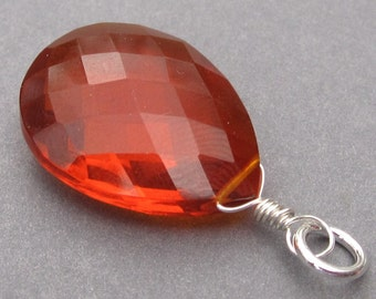 Large Deep Orange Quartz Gemstone Sterling Silver Wire Wrapped Briolette Pendant Charm with Jump Ring Stones 1