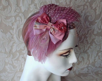 Dusty Rose Feather Fascinator With Blush Birdcage Veil / Handmade Feather Headpiece