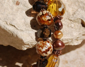 Brown Agate with Gold Crystals and Smoky Quartz two Strand Bracelet......no. 5484