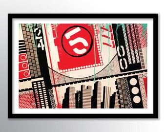 11x17 PRINT on Paper Cover Stock, City Modern Urban Abstract Painting Wall Art by Federico Farias