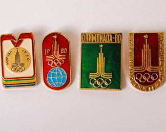 Set of 4 pins, Russia USSR Moscow 1980 Summer Olympic Games Pin Badge.