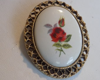"Vintage brooch/pendant with hand painted red rose on porcelain, signed ""PD"" brooch"