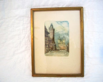 Just Reduced.....Vintage antique hand colored etching signed B. Rozina