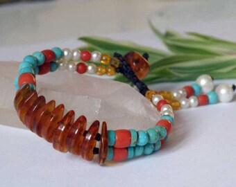 Baltic Amber gemstone cuff - Turquoise - Italian Coral - Freshwater Pearls - Tassel - Macrame - Gemstone bracelet
