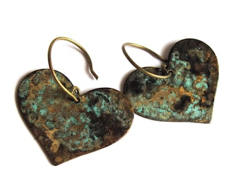 Heart Earrings Verdigris Patina Fashion Jewelry