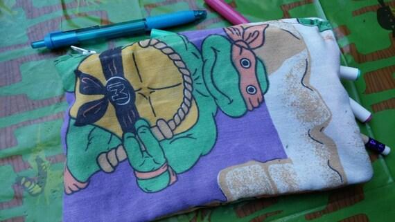 upcycled teenage mutant ninja turtles vintage style zipper closure pencil or make-up bag by felice happy designs