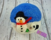 Old English Sheepdog, Puppy, Needle Felted Christmas,  snowman collectable, sheepdog gift, winter snow scene, eco friendly gift, cruelty fre