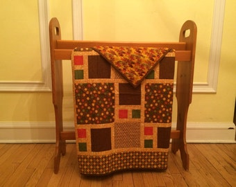 Brown and Gold Fall Lap Quilt