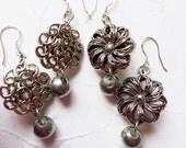 Silver Vintage Button Earrings ~ Ribbon Flower, Scroll