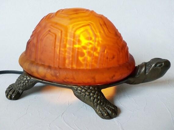 Vintage turtle night light amber glass accent lamp - Turtle nite light ...
