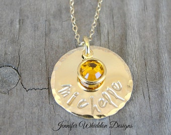 Gold Name Necklace - Mother's Necklace - Personalized Jewelry - Mom Necklace - Birthstone Necklace - Grandmother Jewelry