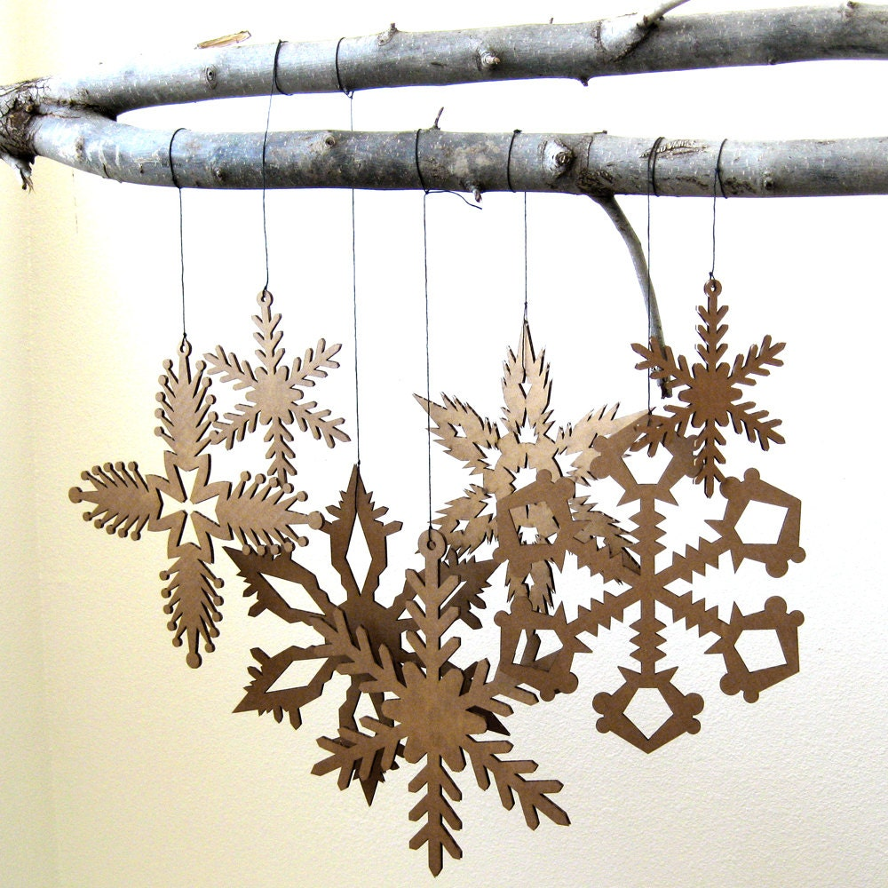 Large hanging snowflake decorations christmas by fabparlor for Big snowflakes decorations