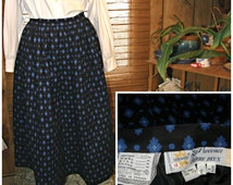 "Vtg 60s Pierre Deux Full SKIRT La Provence, France, Pockets, Print Blue & Black, vtg sz 12, 28"" waist, Womens S, Soleiado"