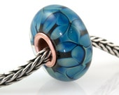 European Big Hole Copper Core Lampwork Glass Bead Kronos Petals