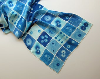Extra-large Blue Mitosis Silk Charmeuse Scarf