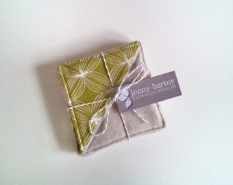 Coasters, Set of 4 - Linen and Squiggle in Chartreuse - Ready to ship