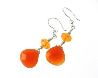 Gemstone Earrings, Red Carnelian Chalcedony Earrings, Statement Earrings, Gemstone Jewelry, Drop Earrings, Statement Jewelry, Dangle Earring