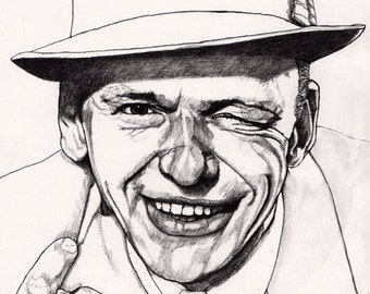Sale Art * Frank Sinatra - Original Signed Paul Nelson-Esch Drawing Art pencil Illustration portraiture singer jazz swing vegas 60s retro
