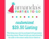 Customized 29.50 Dollar Listing | Amanda's Parties To Go