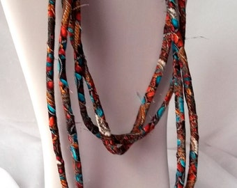 Southwestern Turquoise Necklace, Infinity Rust and Turquoise Fabric Necklace, Handmade Fabric Scarf, Rust100, Modern Skinny Fabric Jewelry