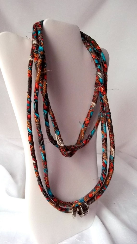 Country Infinity Necklace, Orange and Turquoise Fabric Necklace, Handmade Fabric Scarf, Rust100, Modern Skinny Fabric Jewelry