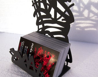 Ribbons Business Card Holder in Matte Black