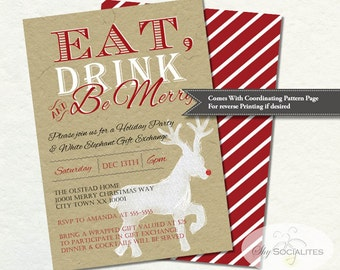 Kraft Reindeer Christmas Invitation   Eat Drink and Be Merry, Rudolph, Holiday Party, Gift Exchange, Tan, Red, White   Instant Download