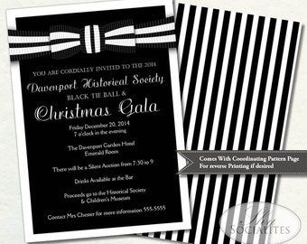 Black Tie Invitation | Black and White Ball Invitation | Formal Gala | Holiday Party | Formal Fund Raiser | Prom, Ceremony | Print at Home