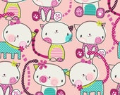 Dot Kitty by Fabric Traditions - 1/2 yard -Tossed kitty pink