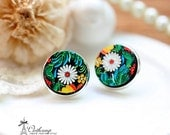 20% off -NEW Unique 3D Embossed  flower 16mm Round Handmade Wood Cut Cabochon to make Rings, Earrings, Necklaces, Bracelets-(WG-48)