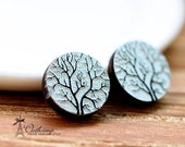 20% off -NEW Unique 3D Embossed  Tree 16mm Round Handmade Wood Cut Cabochon to make Rings, Earrings, Bobby pin,Necklaces, Bracelets-(WG-58)