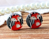 20% off -NEW Unique 3D Embossed  Fox 16mm Round Handmade Wood Cut Cabochon to make Rings, Earrings, Bobby pin,Necklaces, Bracelets-(WG-70)