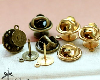 10pcs 8mm Antique Bronze / Raw Brass High Quality  Brooch -(Safety Pin-33.34)