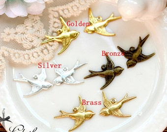 10PCS Antique Bronze/ Golden/ Silver/ Brass one loop Bird Charm Connector Finding  (FILIG-GD-35.36.37.38)