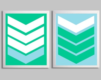 Southwestern Arrows Art Prints Sky Blue Kelly Green more colors available set of 2