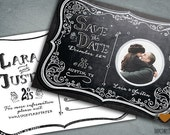 Customized PDF file: Chalkboard Moonlight Engagement Party Postcard by Luckyladypaper - DIY printing