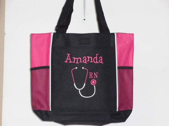 personalized tote bag rn lpn bsn gift stethoscope