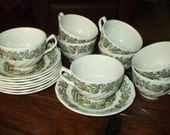 Merry Christmas By Johnson Brothers 8 cups 8 Saucers Vintage England Fireplace Tree Holly