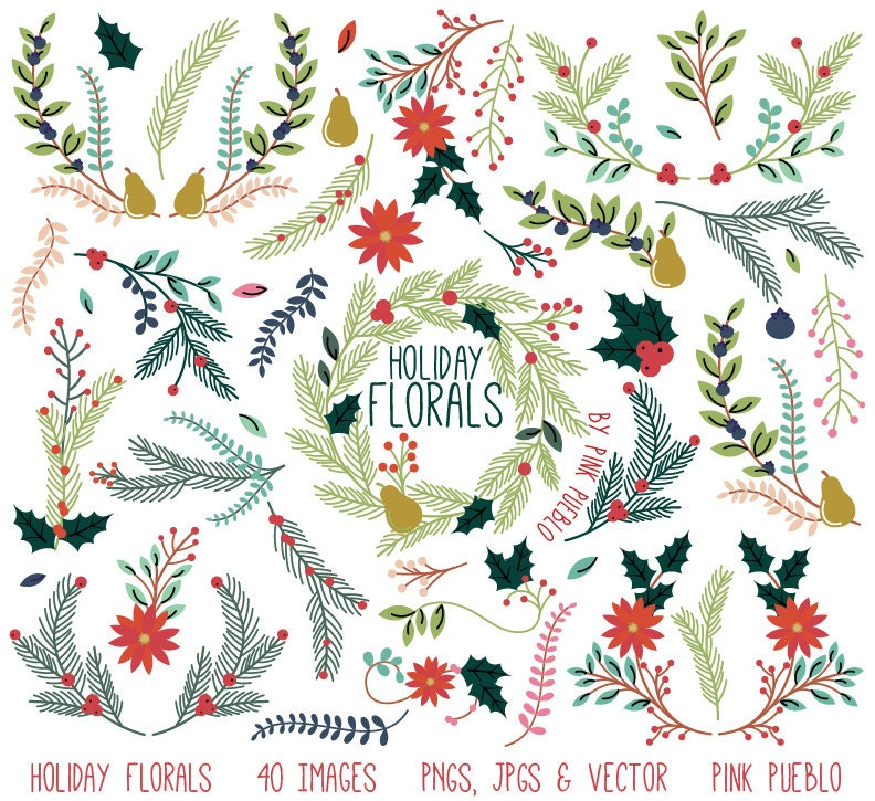 Christmas Floral Clipart Clip Art Holiday Laurel Wreath Leaf